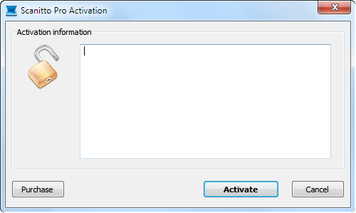 Activation dialog